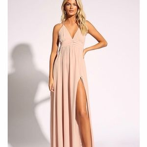 Love Culture Blush Open Back Pleated Maxi Dress